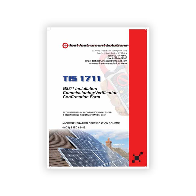TIS 1711 Solar G83 Installation Commissioning Form