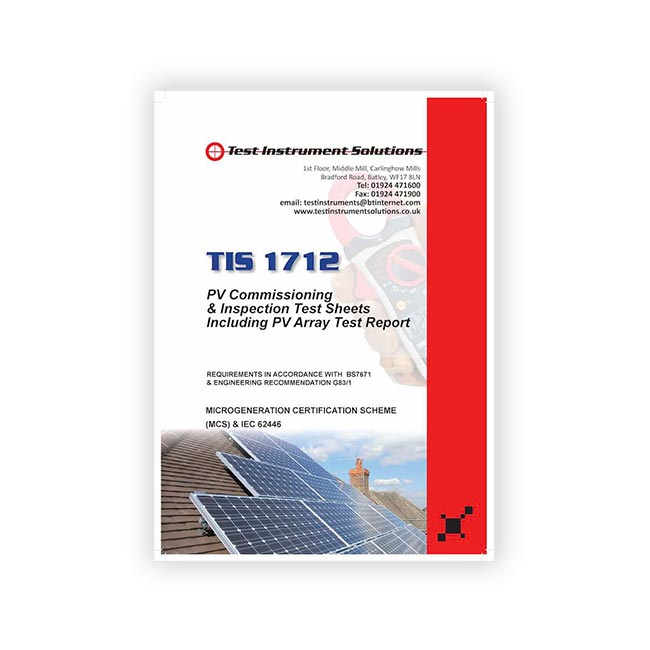 TIS 1712 Solar Commissioning Inspection & Test Sheet